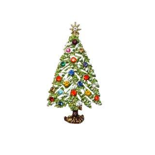 アート・雪が降り積もったクリスマスツリーブローチ