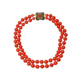 マーベラ・赤い珊瑚色ガラス球のネックレス
