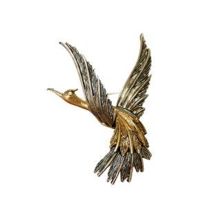 アート・クラシカルな金と銀の美しい鳥のブローチ