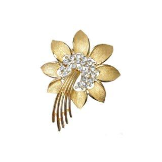 トリファリ・金色のエキゾチックなお花のブローチ