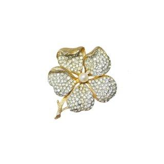 フランソワ(コロ)・華やかなラインストーンのお花のブローチ