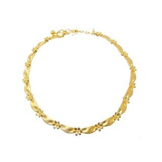 トリファリ・金色リボンと小さなお花のネックレス