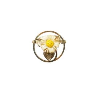 ウェルズ・お花とリーフの小さなラウンド型ブローチ