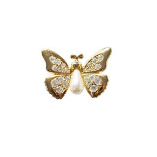 スワロフスキー・金色の小さな蝶のブローチ