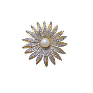 デニコラ・ラインストーンが煌く金色のお花のブローチ