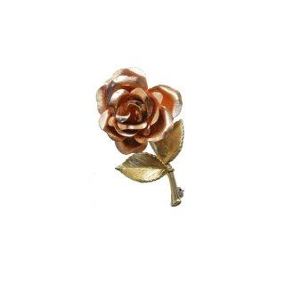 クレメンツ・一輪の薔薇とリーフのブローチ