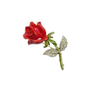 クレーマー・赤い薔薇とラインストーンが煌くリーフのブローチ