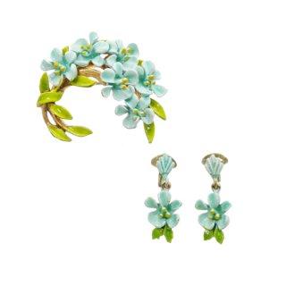 アート・エナメル仕上げの可憐な青いお花のブローチセット
