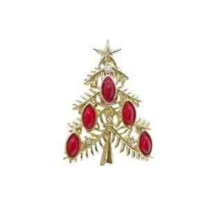 タンサーツー・ワイン色デコレーションのクリスマスツリーブローチ