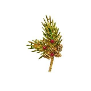 アート・モミの木と木の実のクリスマスブローチ