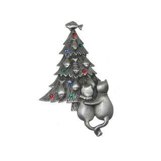 JJ・お魚のクリスマスツリーと猫のカップルのブローチ