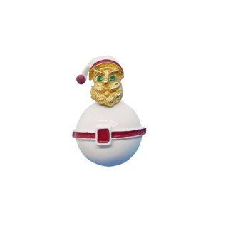 アート・雪だるまのようなサンタクロースのクリスマスブローチ