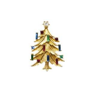 マムゼル・蝋燭が灯ったクリスマスツリーのブローチ
