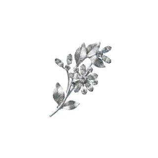 クレメンツ・ラインストーンのお花とリーフのブローチ