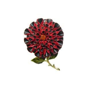 コロ・お洒落な赤いお花のレトロなブローチ