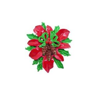 ポインセチアと木の実のクリスマスブローチ