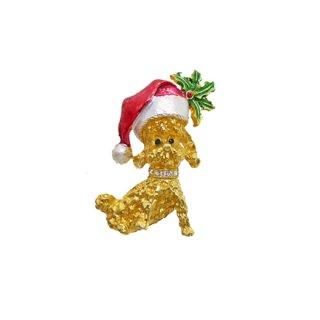 マイルー・可愛いプードルのクリスマスブローチ