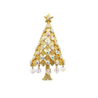 マイルー・ラインストーンが揺れるシックなクリスマスツリーのブローチ