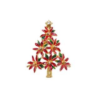 リア・ポインセチアで装飾されたクリスマスツリーブローチ