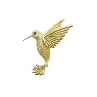クレメンツ・エレガントな金色のハチドリのブローチ