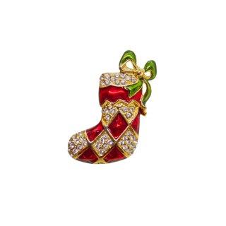 モネ・ラインストーンで飾られたクリスマスソックスのブローチ