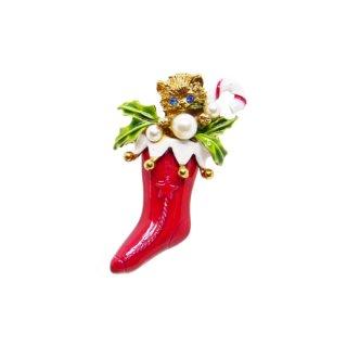 アート・子猫が入ったクリスマスソックスのブローチ