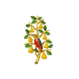 カドロ・エナメル仕上げの鳥と梨のクリスマスツリーブローチ