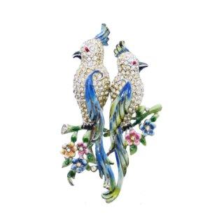 コロデュエット・ラインストーンが煌く青い鸚鵡のブローチ(特許)