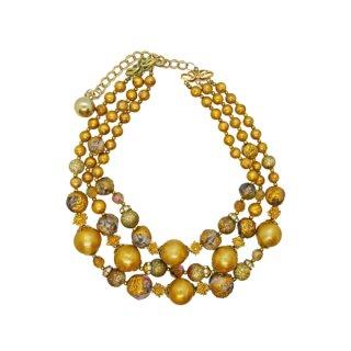 ドーヴィル・シャンパンゴールド色の3連ネックレス