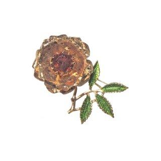 サラコヴェントリー・金色のお花とリーフのブローチ