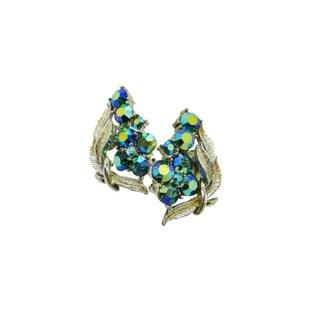 コロ・オーロラ色に輝く青いラインストーンとリーフのイヤリング