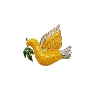 ローマン・黄色い鳩とオリーブの葉のブローチ