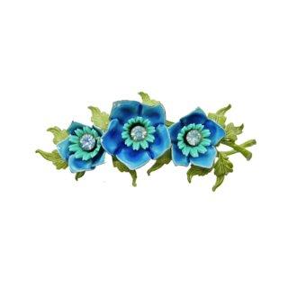 セリーニ・レトロな三輪の青いお花とリーフのブローチ