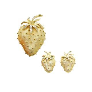 トリファリ・金色のツブツブ苺のブローチセット