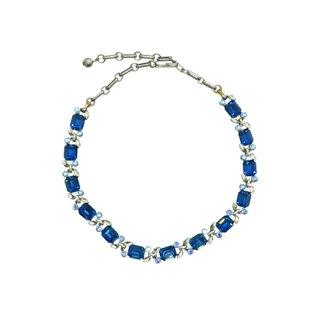 リスナー・ブルーラインストーンと銀色リーフのネックレス
