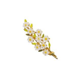 アート・小さな白いお花とリーフのブローチ