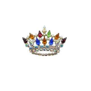 ビーデビッド・ ラインストーンが煌くアイキャッチーな王冠のブローチ