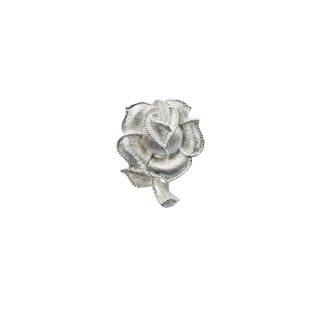 トリファリ・銀色の薔薇とリーフのプティサイズブローチ