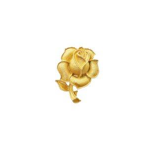 トリファリ・金色の薔薇とリーフのプティサイズブローチ