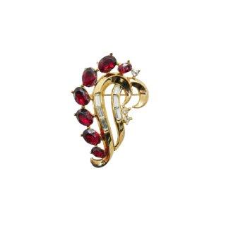 トリファリ・赤いラインストーンの上品なブローチ(特許)