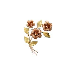 クレメンツ・三輪の薔薇とリーフのブローチ