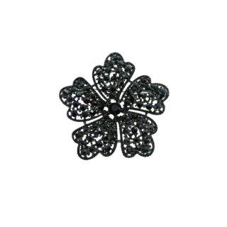 クレーマー・シックな黒いラインストーンのお花のブローチ