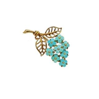 トリファリ・青い小さなお花とリーフのブローチ(特許)