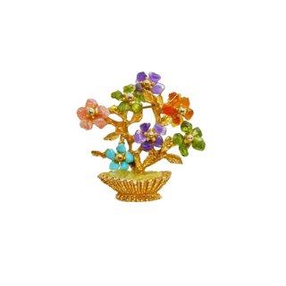 スワボダ・カラフルな天然石の小さなお花とリーフのブローチ