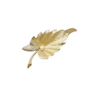 マムゼル・上品な金色リーフとパールのブローチ