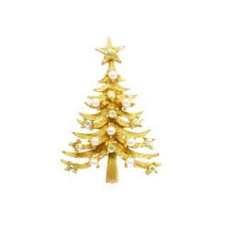 マイルー・パールとラインストーンのシックなクリスマスツリーブローチ