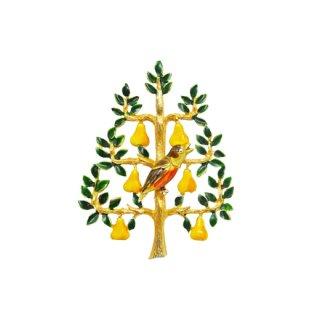 カドロ・可愛い小鳥と梨のクリスマスツリーブローチ