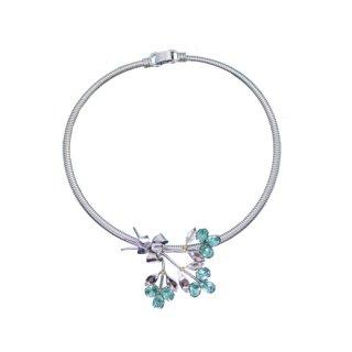 コロ・ラインストーンの青いお花のネックレス(特許)