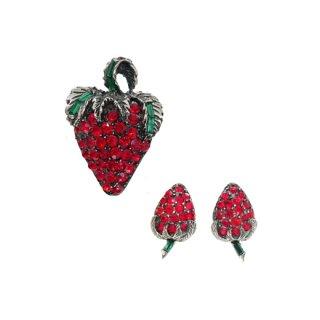 ペル・ラインストーンが煌く苺のブローチセット
