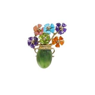 スワボダ・天然石のお花と花瓶のブローチ